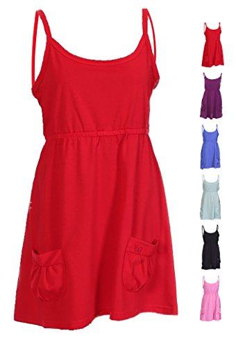Mujeres camiseta de tirantes cuello Cami sin mangas Swing de campana Tiras Chaleco Celebrity verano playa vestido de tirantes para mujer bolsillos tamaño 101214161820 Rosso