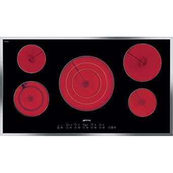 Smeg S2951CXU 36 Smoothtop Electric Cooktop 5 High-Light Elements, Stainless Steel Frame