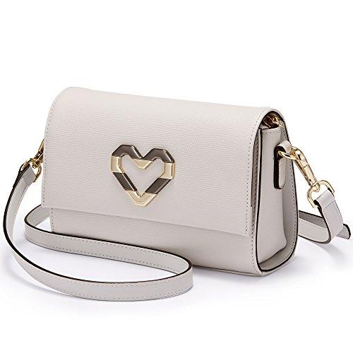 Valentine's Shoulder Woman for Gray bag LAORENTOU Cowhide Leather Gift Messenger Women Purse Crossbody Bag bags HAq71w