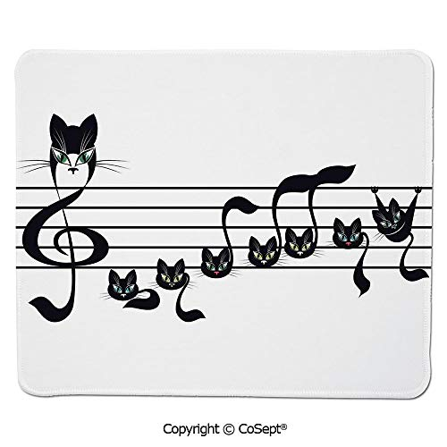 (Premium-Textured Mouse pad,Notes Kittens Kitty Cat Artwork Notation Tune Children Halloween Stylized,Dual Use Mouse pad for Office/Home (7.87