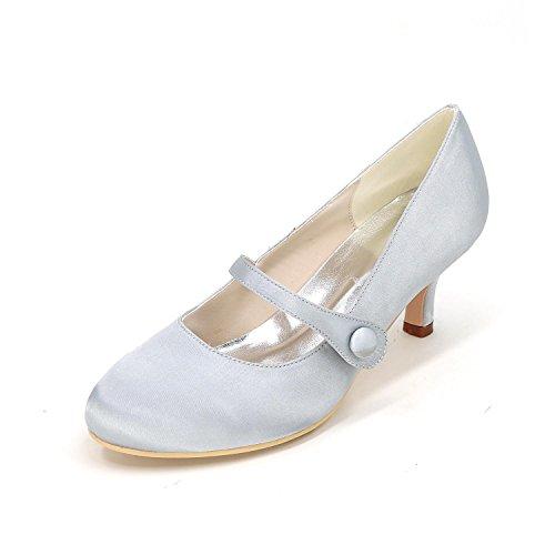 L@YC Women's High Heels Wedding Shoes Comfort Satin Spring Summer Wedding Party & Evening Dress Rhinestone Silver GabAFV5si