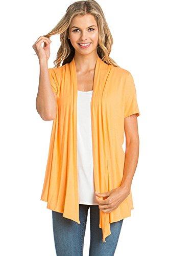 12 Ami Basic Solid Short Sleeve Open Front Cardigan Orange Small