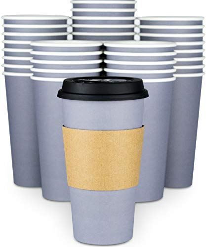 Disposable Coffee Cups With Lids - 20 oz To Go Coffee Cups (90 Set) and Tight No Leak Lids Prevent Spills. Large Paper Cup Safe For Travel Beverages. Insulated Sleeves Protect Fingers from Hot Drinks! (Styrofoam 20oz)