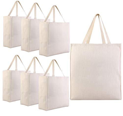 (Pack of 6 - Heavy Cotton Twill Over-the-Shoulder Grocery Tote Bags - 15.5