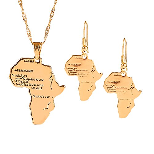 (18k Gold-plated Brass African Map Jewelry Set for Women Wedding Party )