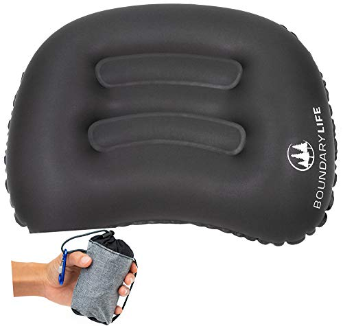 Boundary Life Camping Pillow Backpacking Inflatable Pillows Adjustable Lumbar Support for Airplane or Car Travelers | Lightweight Foldable Hiking Pillow - Black