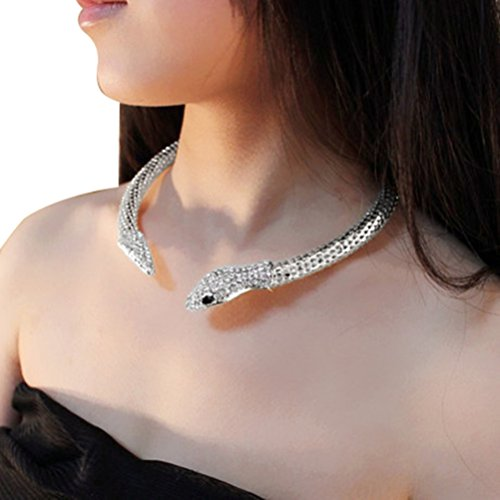 [Lady Tone Chain Jewelry Rhinestone Snake Pendant Necklace] (Cobra Snake Halloween Costumes)