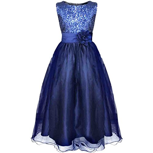 [YiZYiF Kids Girls Sequined Wedding Dress Bridesmaid Formal Christmas Party Gown Navy Blue 9-10] (Blue Fancy Dress)