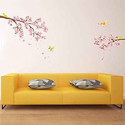 Decowall, DW-1303, Cherry Blossoms and bird peel & stick wall decals stickers