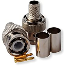 Besmelody 10-Pack Professional RG59/62 BNC Male Crimp-On Connector for CCTV Coaxial Cables