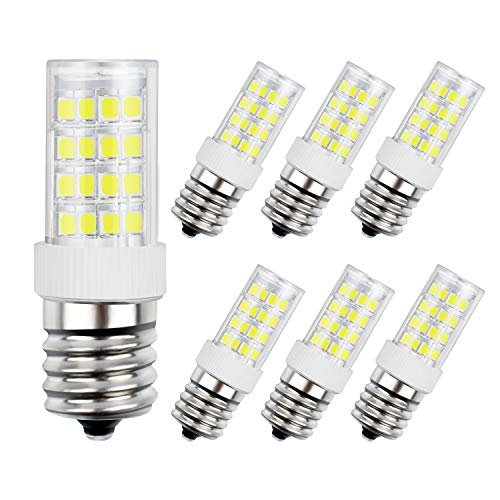 DiCUNO E17 LED Bulb, Appliance Bulbs, Microwave Oven, Stovetop Light, 4W 400lm, Daylight White 6000k, 40w Equivalent Replacement Incandescent Bulb, 6-Pack. ()