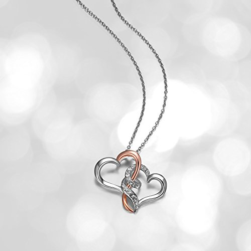 Double Pendant Necklace - Sterling Silver Two Tone Double Heart Pendant Necklace Made with Swarovski Crystal (18