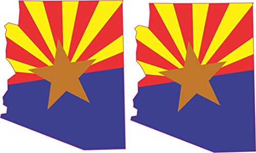 "1.75"" x 2.1"" 2x Arizona Flag Bumper Sticker Decal Car Window"