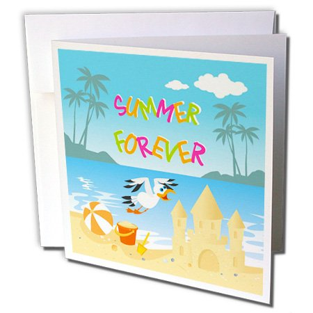 3dRose Belinha Fernandes - Summer at the beach - Forever summer tropical beach with islands, palm trees, a sand castle and seagull - 12 Greeting Cards with envelopes (gc_156607_2)