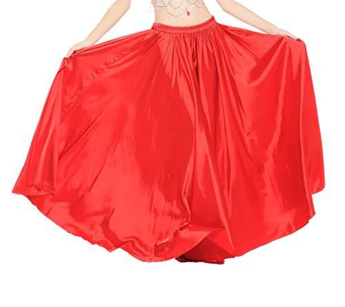 Dance Fairy Satin Belly Dance Swing Midi Skirt,Red (Cabaret Outfits)