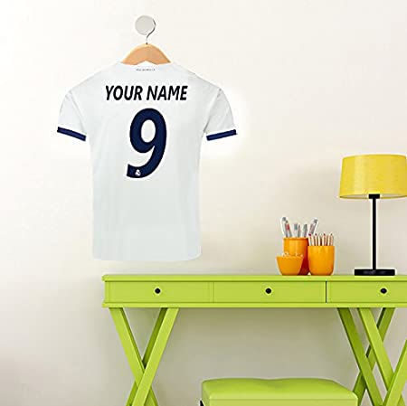 86e594e1805 REAL MADRID SHIRT YOUR NAME & NUMBER CUSTOM PRINTED FOOTBALL SHIRT ON HANGER  WALL STICKER: Amazon.co.uk: Kitchen & Home