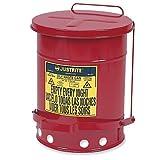 Justrite 09100 Red Galvanized Steel Oily Waste
