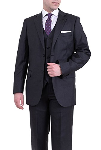 YSMO Men's Pinstriped Two Button Three Piece Suits Jacket & Pants & Vest Groom Tuxedo Black