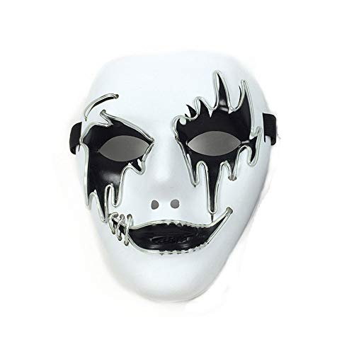 Halloween Glowing Mask Cosplay LED Light Mask Ghost Dance Props(Blue 19188cm/Voice Switch)