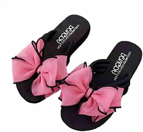 178befcb6b29 Women's Beach Slippers Bow Wedges Flip Flops Non-Slip Clip Toe Beach  Slippers Thongs Flip