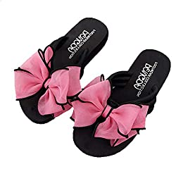 Xlnuln Flat Sandals Summer Fashion Women S Bow Wedges Flip Flops Non Slip Clip Toe Beach Slippers Casual Sandals Red