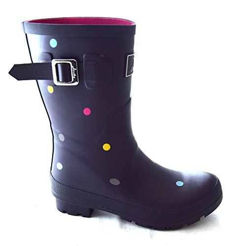 (Joules Women's Molly Short Printed Welly Rain Boots, Grey, Rubber, 5 M)