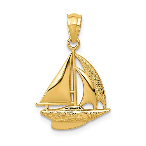 14K Yellow Gold Sailboat Pendant
