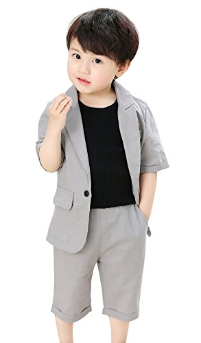 Fengchengjize Little Boys Formal Wear Summer Short Suit 2 Pieces Short Sleeve Jacket Shorts Formal Dresswear Grey 3T by Fengchengjize