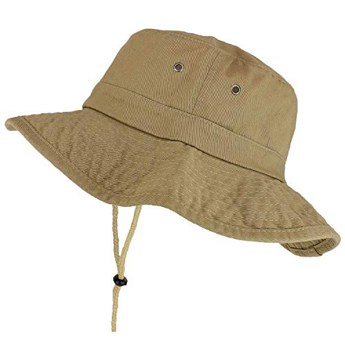 - Trendy Apparel Shop XXL Oversize Large Brim 100% Cotton Outdoor Boonie Hat - Khaki - 2XL