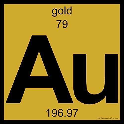 au gold art tile print of periodic table elements - Au Periodic Table Of Elements