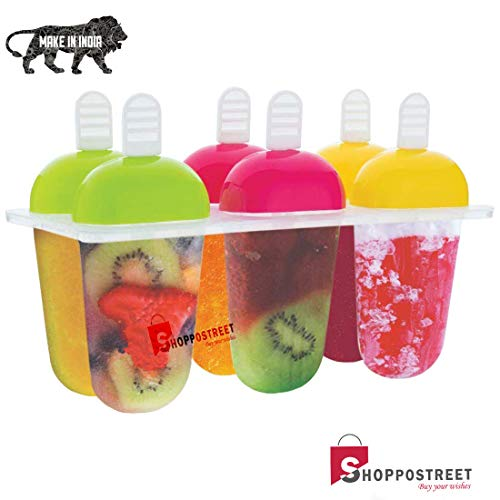 SHOPPOSTREET Kulfi Maker Mould, Candy Mould, Popsicle Moulds, Ice Candy Maker, Plastic Frozen Ice Cream Mould Tray of 6 Candy with Reusable Stick (1) Price & Reviews