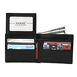 Wallets for Men,NOOO RFID Blocking Genuine Leather Credit Card Wallet for Men with Zipper and ID Window,Durable Travel Wallet, Slim Credit Card Wallet Black