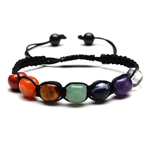 7 Chakra Healing Bracelet | Natural Stones Yoga Beads Balancing Bracelet | Meditation Gemstone Beads Jewelry | Diffuser Bracelet with Exquisite Gift Box (Natural) (Depression Bubble)