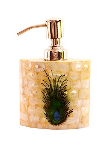Purpledip Mother Of Pearl Liquid Soap Dispenser (Oval) In Unique Peacock Design; Premium Bathroom Kitchen Accessory (11302)