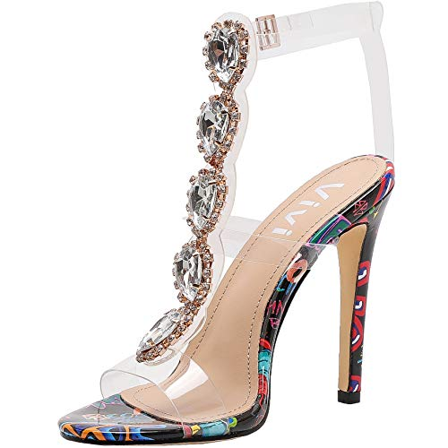 Vivi Womens Multicolor Peep Toe Ankle Strap Buckle Rhinestones Clear Stiletto High Heels Size ()