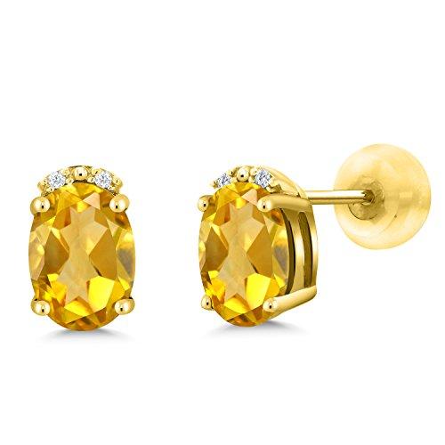 - Gem Stone King 1.23 Ct Oval Yellow Citrine White Diamond 10K Yellow Gold Earrings