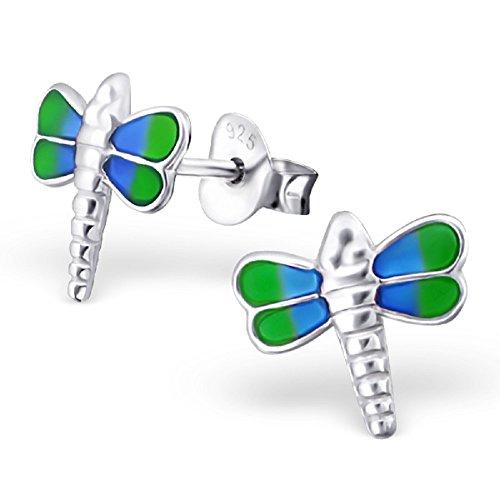 925 Sterling Silver Blue & Green Dragonfly Stud Earrings 20055