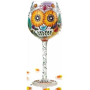 Bling Sugar Skulls Floral 15 Ounce Handpainted Wine Glass