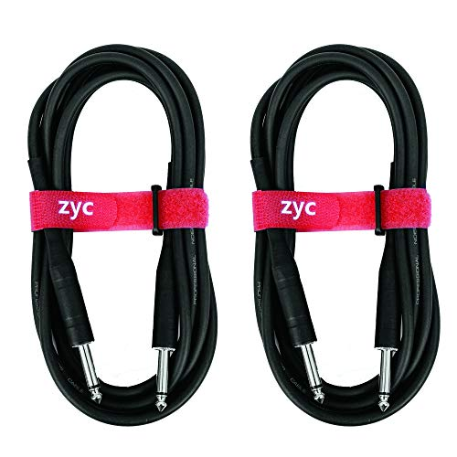 ZYC Guitar Cable 10 Feet 1/4 Inch Male to Male Mono PVC Instrument 1 4 Audio Cable Connectors-2 Pack -