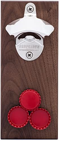 DropCatch Magnetic Wall Mounted Bottle Opener Cap Catcher – 40 Caps Porter