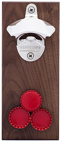 (DropCatch Magnetic Wall Mounted Bottle Opener & Cap Catcher - 40 Caps (Porter))
