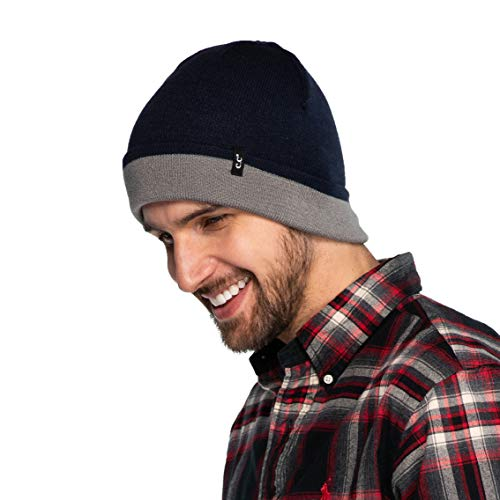 Reversible Acrylic - C.C Exclusives Unisex Soft Stretch Knit Beanie with Reversible (Navy/Lt.Mel Grey, Reversible)