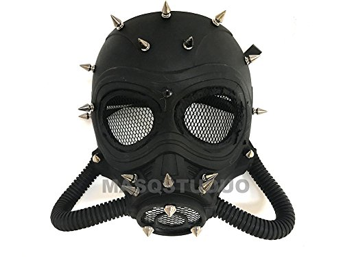 MASQSTUDIO Halloween Costume Cosplay Steampunk Dress up Party Masquerade Gas Mask (Black)]()