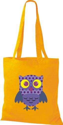 Stoffbeutel Bunte Eule niedliche Tragetasche mit Punkte Owl Retro diverse Farbe Gelb