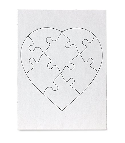 Hygloss Products Blank Jigsaw Heart Puzzle - Compoz-A-Puzzle - 6 x 8 Inch - 8 Pieces, 24 Puzzles