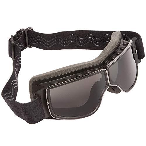 PiWear® Nevada Motorradbrille über Helm für Brillenträger geeignet Retro Klassik Oldtimer Schutzbrille schwarz dunkel…