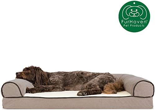 Furhaven Pet Dog Bed Orthopedic Sofa-Style Traditional Living Room Couch Pet Bed w Removable Cover for Dogs Cats – Available in Multiple Colors Styles