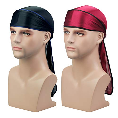 - Silky Durag Headwraps (2PCS/3PCS) Extra Long Tail Wide Straps 360 Waves