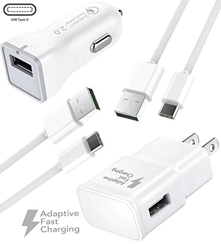 Google Pixel 2 Fast Charger Type-C USB 2.0 Cable set by Ixir - (Wall Charger + Car Charger + 2 Type-C Cable) Google Pixel XL, Google Pixel, Google Pixel XL 2 up to %50 fast charging.-White