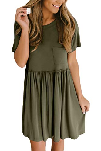 For G and PL Women Casual Short Sleeve Pleated High Waisted Pocket Cute Plain Tunic Dress Olive 2XL